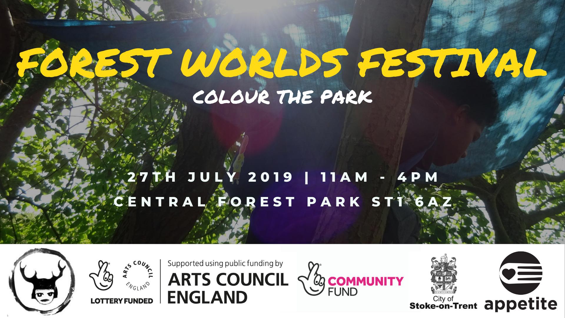 Forest Worlds Festival banner 30.04.19